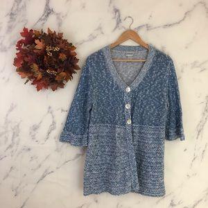 Chicos Marled Knit Short Sleeve Cardigan